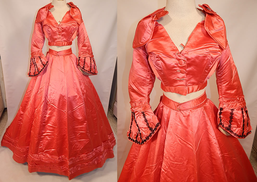 Victorian Magenta Pink Silk Ball Gown With Train Skirt 2 Bodices & Bow Belt