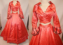 Victorian 1860s Fuchsia Pink Silk Ball Gown With Train Skirt 2 Bodices & Bow Belt