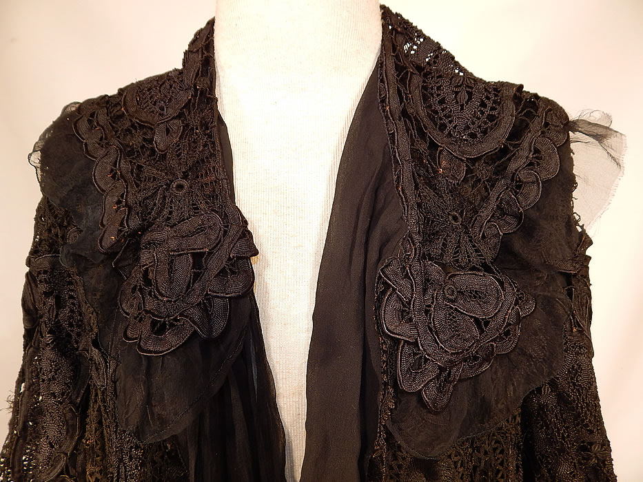 Edwardian Black Silk Battenburg Tape Lace Shawl Collar Long Coat Jacket