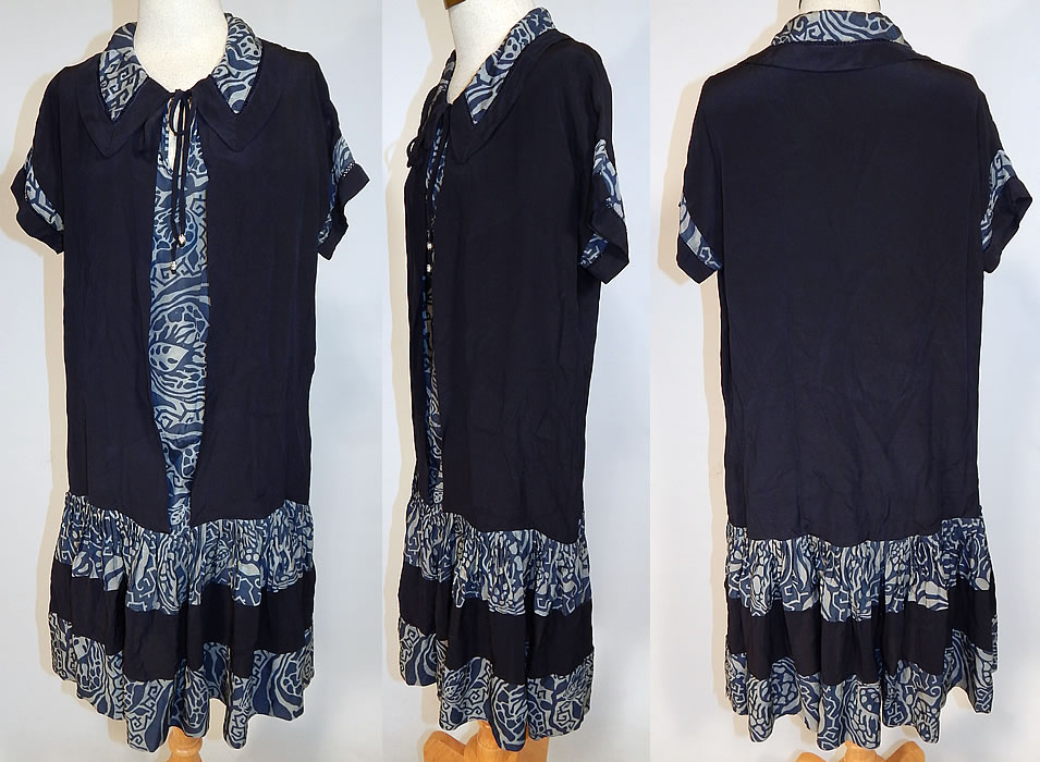 Vintage Navy Blue Art Deco Print Silk Ruffle Short Skirt Drop Waist Dress