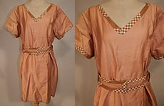 Vintage Edwardian Tan Cotton Gingham Trim Belted Bathing Swimsuit Dress