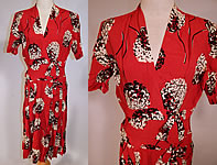 Vintage NY Creation Red Black & White Clover Flower Novelty Print Rayon Dress