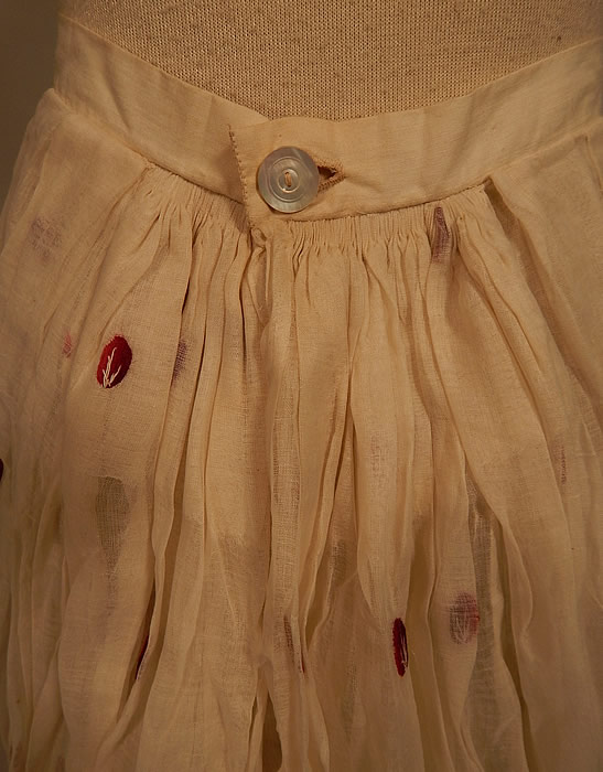 Victorian White Cotton Organdy Fabric Red Berry Polka Dot Embroidered Skirt