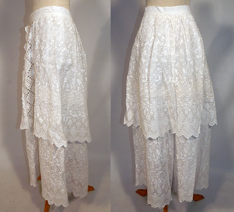Edwardian White Cotton Broderie Anglaise Eyelet Embroidery Cutwork Lace Skirt