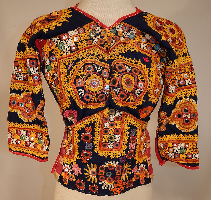 Vintage Antique Indian Gujarati Kutch Work Embroidered Mirror Choli Boho Blouse Top