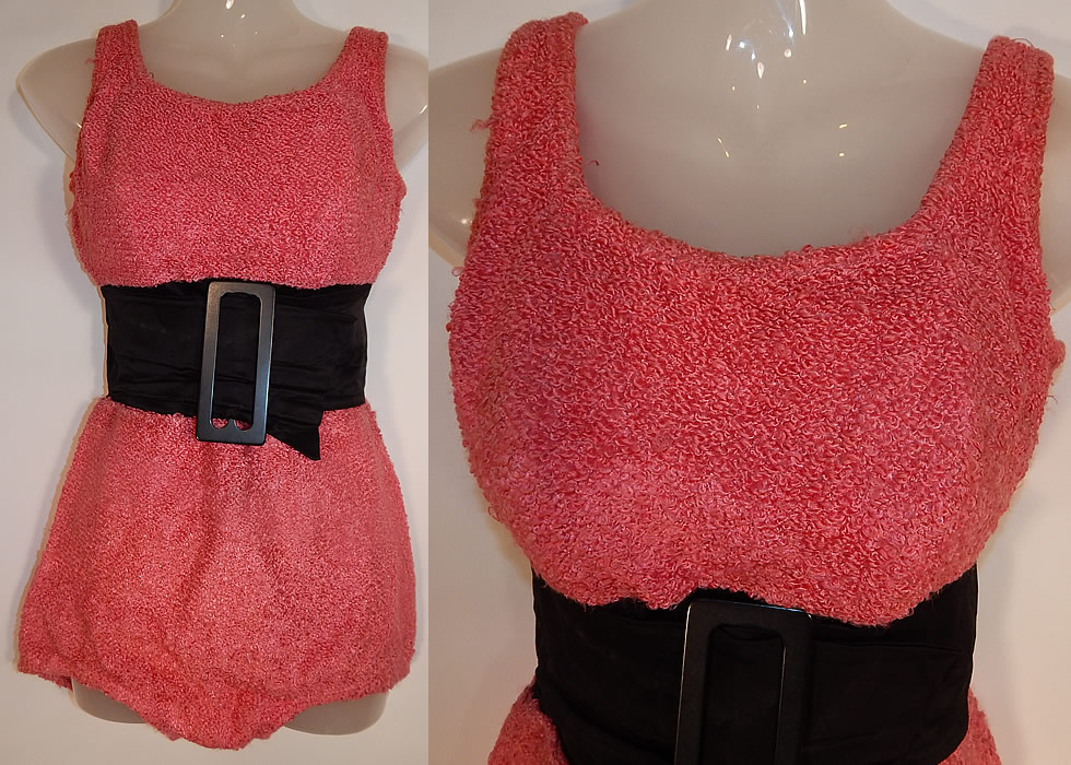 Vintage Jantzen Pink Boucle Knit Black Belted Buckle Jayne Mansfield Pinup Swimsuit
