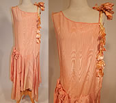 Vintage Peach Silk Moire Sweet Pea Flower Handkerchief Skirt Drop Waist Dress