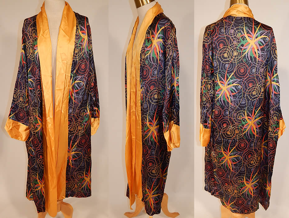 Vintage Art Deco Colorful Rainbow Spiral Stars Silk Flapper Kimono Robe Coat