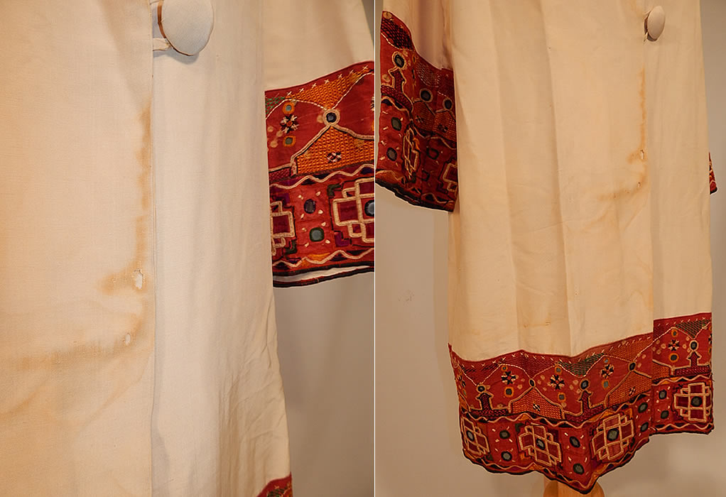 Vintage Indian Gujarati Kutch Work Embroidery Mirrored Art Deco Cocoon Coat