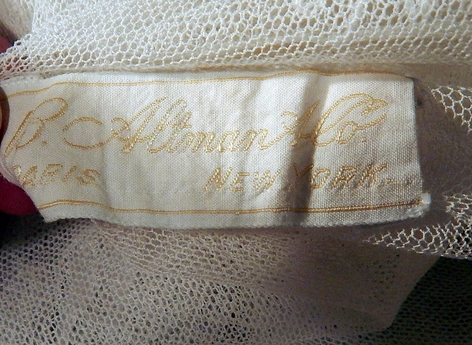Vintage B. Altman & Co White Cotton Tulle Net Embroidered Lace Drop Waist Dress