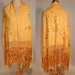 Vintage Golden Yellow Silk Embroidered Butterfly Macrame Fringe Flapper Shawl Scarf