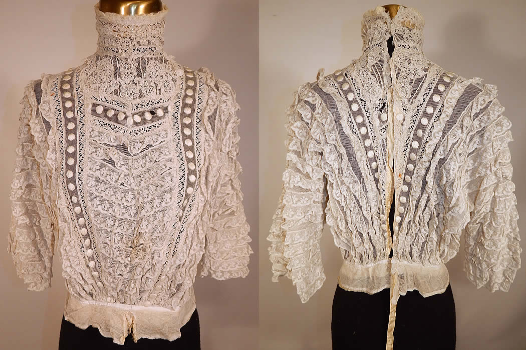 Edwardian Embroidered Polka Dot White Net Lace Applique Bodice Blouse