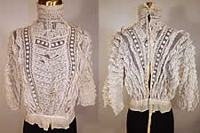 Vintage Edwardian Embroidered Polka Dot White Net Lace Ruffle Applique Bodice Blouse