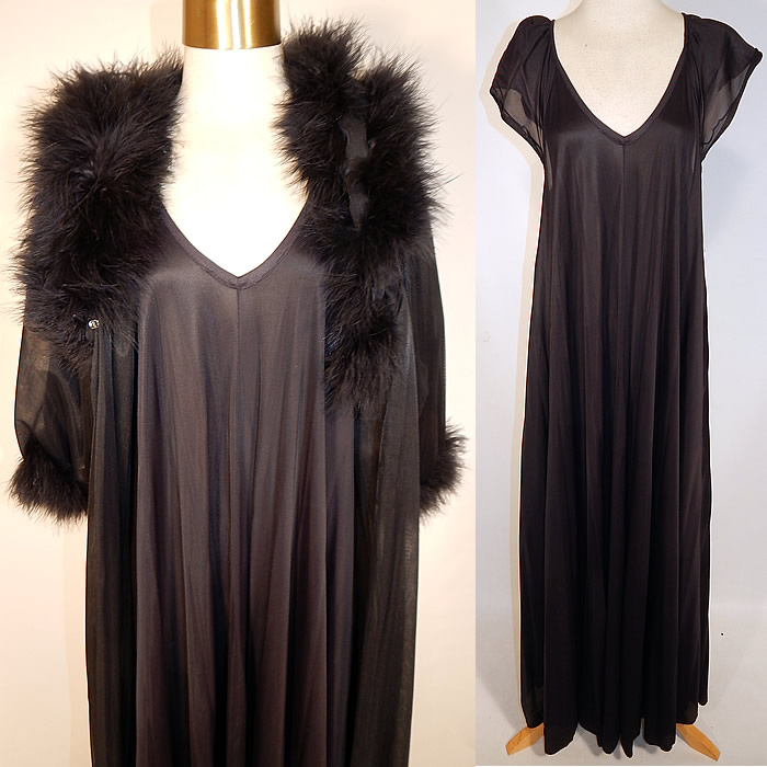Vintage Jenelle of California Black Marabou Feather Robe Peignoir Negligee Nightgown