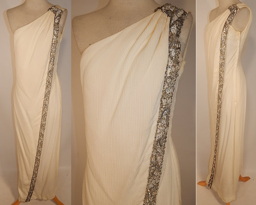 Vintage White Silk de Chine Silver Beaded One Shoulder Grecian Goddess Gown