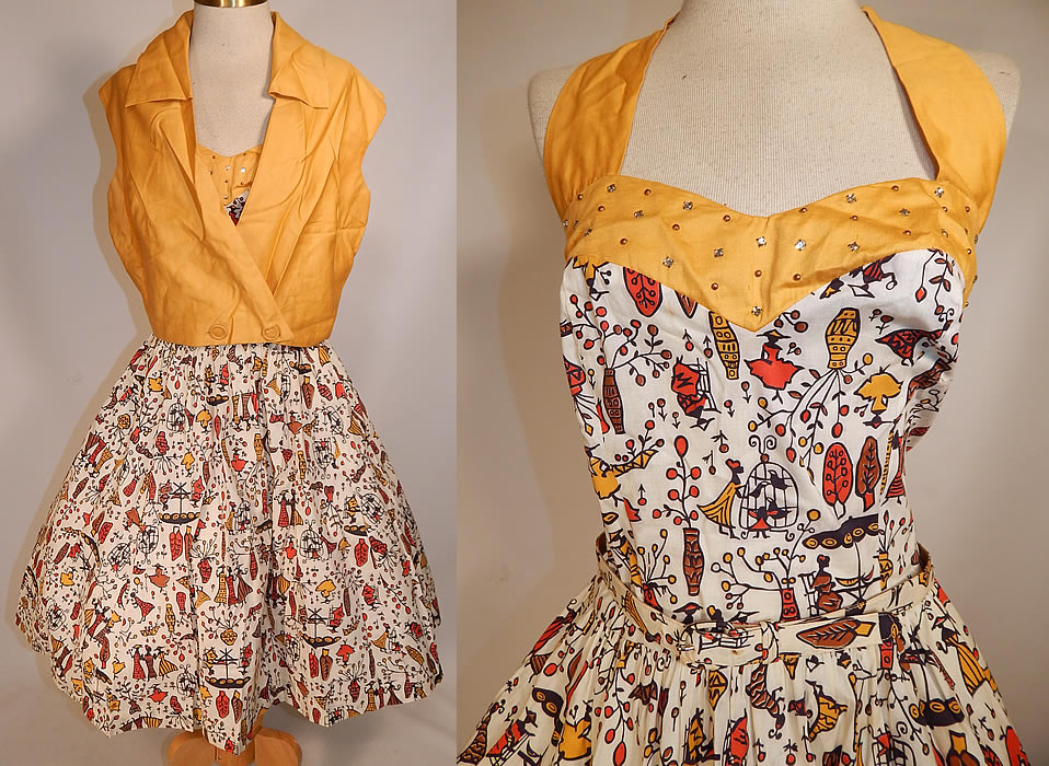 Vintage Cotton Caribbean African Women Novelty Print Circle Skirt Halter Dress Jacket
