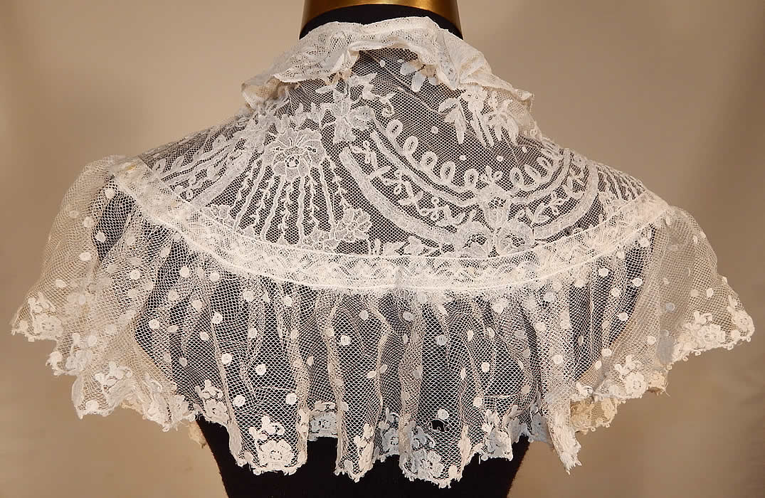 Victorian White Needlepoint Applique Lace Fichu Kerchief Scarf Shawl Collar Cape Pelerine