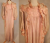 Victorian Pink Crinkle Crepe Silk Ruffle Morning Tea Gown Wrapper Robe Dress