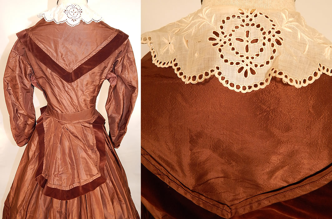 Victorian Civil War Era Brown Silk Taffeta Hoop Skirt Dress & Velvet Bow Belt Sash