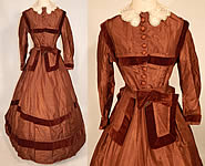 Victorian Civil War Era Brown Silk Taffeta Hoop Skirt Dress Velvet Bow Belt Sash