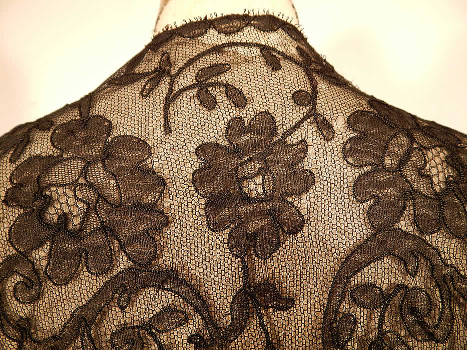 Victorian Antique Black Chantilly Lace Net Bodice Blouse Shirt Jacket Top