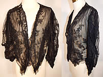 Vintage Victorian Antique Black Chantilly Lace Net Bodice Blouse Shirt Jacket Top
