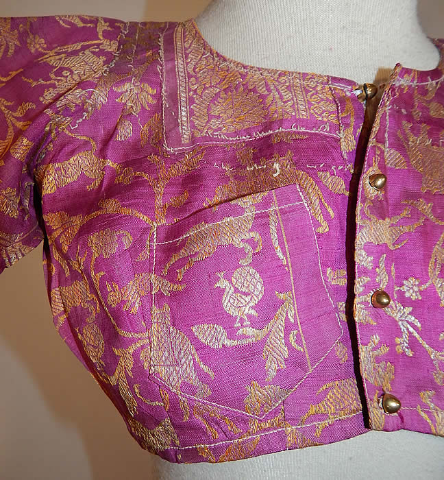 Vintage 19th Century Indian Purple Silk Sari Gold Lamé Lame Choli Crop Top Blouse