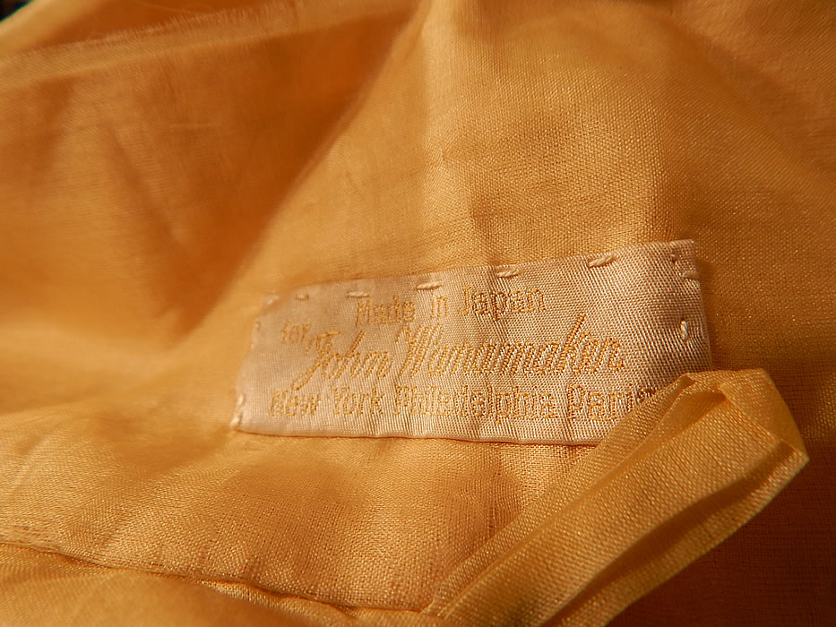 Vintage Japanese Yellow Silk Embroidered Kimono Robe Sash & Slippers