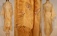 Vintage Japanese Yellow Silk Butterfly Embroidered Kimono Robe Sash & Slippers