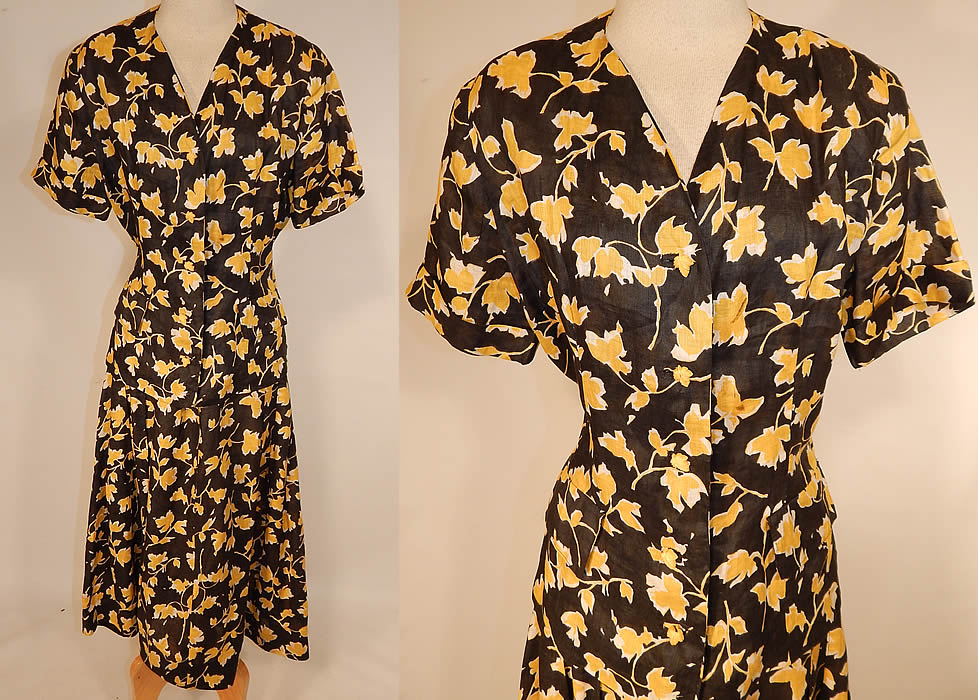 Vintage Black & Yellow Leaf Novelty Print Cotton Dress Suit Jacket Top Skirt