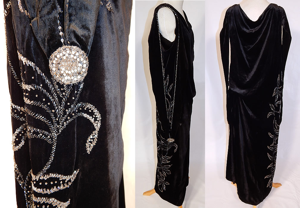 Vintage Art Deco Black Velvet Silver Rhinestone Beaded Flapper Dress Evening Gown
