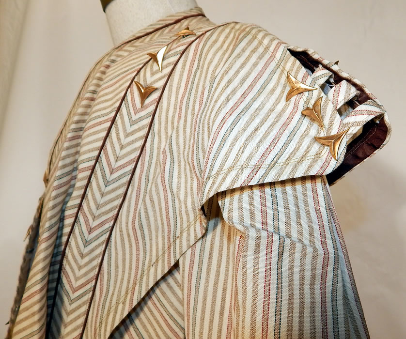 Victorian Brown & White Chevron Striped Wool Walking Suit Jacket Skirt