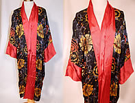 Vintage Art Deco Red & Black Flower Print Silk Flapper Kimono Robe Coat
