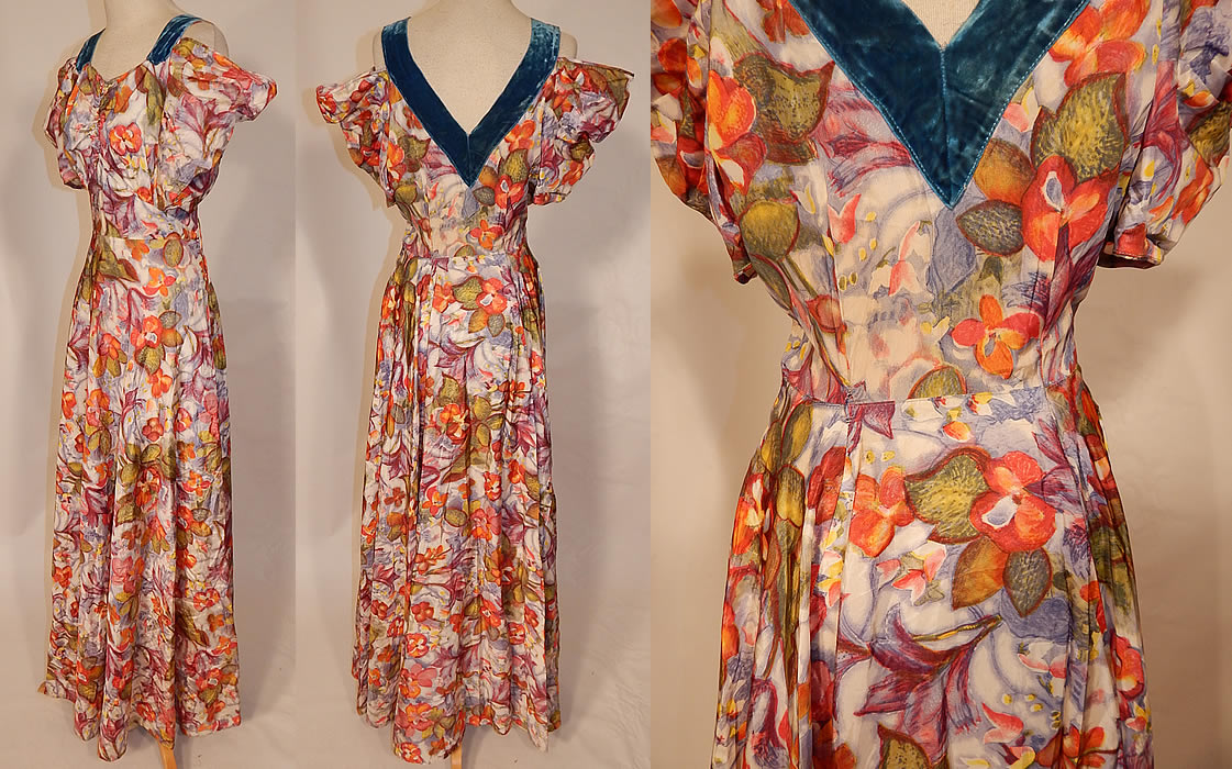 Vintage Orange Blossom Floral Pastel Print Rayon Taffeta Off Shoulder Dress Gown