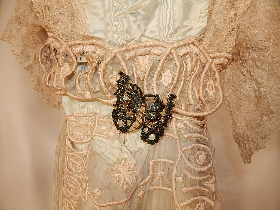 Edwardian Blue Silk Embroidered Lace Beaded Butterfly Ball Gown Dress