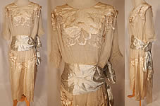 Vintage Edwardian Silk Embroidered Beaded Blue Ribbon Sash Belted Wedding Dress Gown