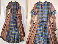 Victorian Civil War Era Silk Brocade Plaid Hoop Skirt Wrapper Gown Dress