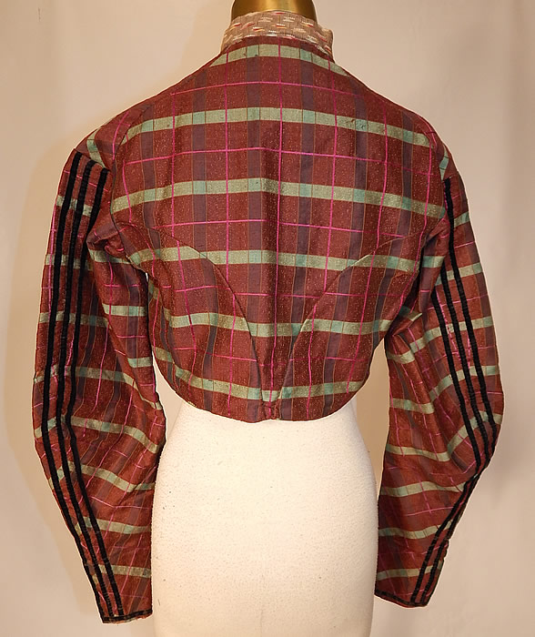 Victorian Civil War Brown Green Pink Plaid Stripe Wool Bodice Blouse Jacket Top