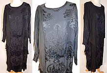 Vintage Black Silk Damask Oriental Chinese Figural Fringed Flapper Dress