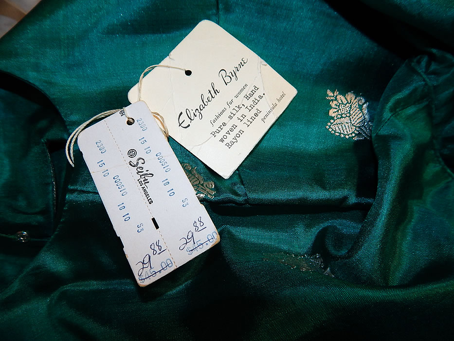 Vintage Elizabeth Bryne Seibu Hong Kong Green Silk Sari India Cocktail Dress NWT