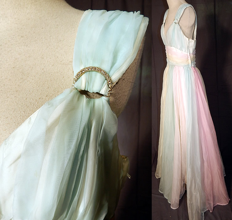 Vintage Pastel Rainbow Chiffon Ballroom Dance Dress Grecian Goddess Gown