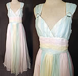 Vintage Pastel Rainbow Chiffon Formal Ballroom Dance Dress Grecian Goddess Gown