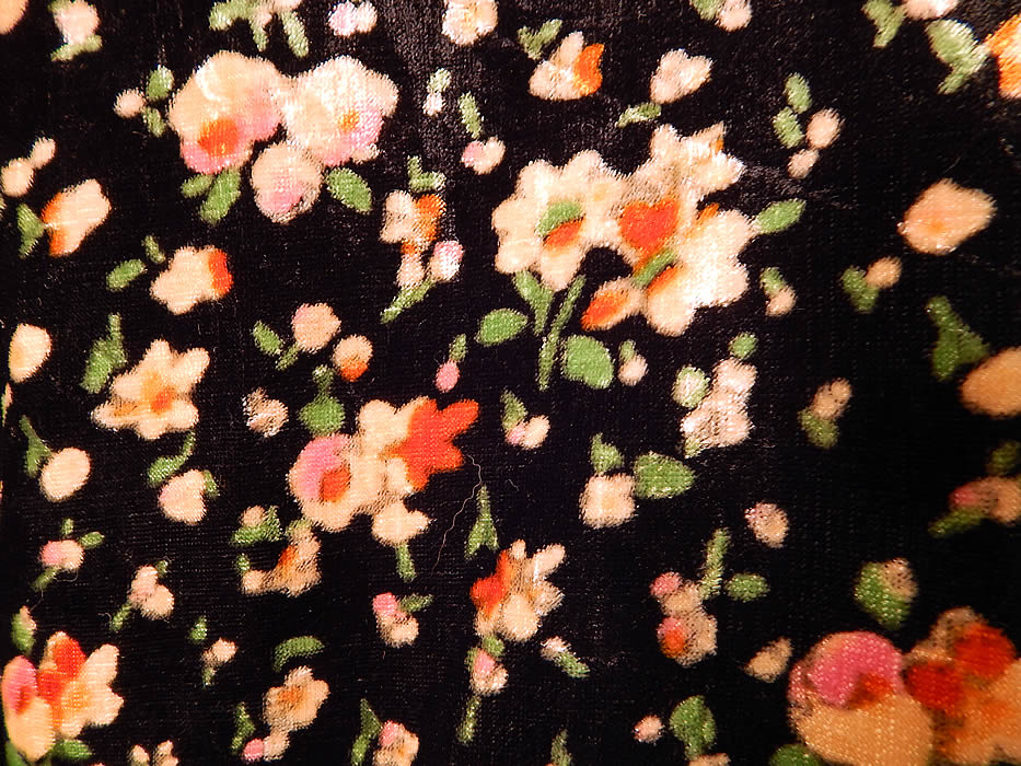 Vintage Art Deco Black Silk Velvet Pink Roses Floral Print Flapper Coat Jacket