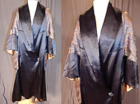 Vintage Art Deco Navy Blue Silk Gold Lamé Lame Flapper Opera Coat Cape Cloak