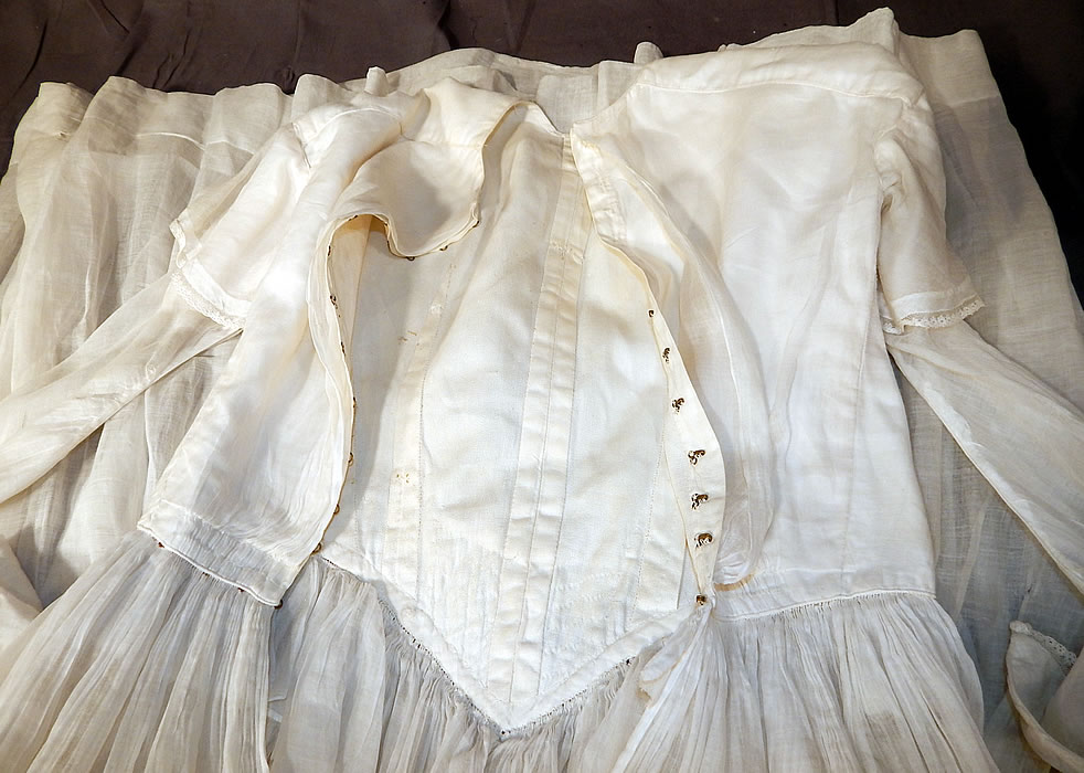 Victorian Era White Muslin Hoop Skirt Wedding Gown Dress