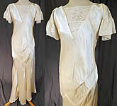 Vintage 1930s White Silk Satin & Lace Asymmetrical Bias Cut Wedding Gown Dress