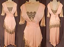 Edwardian Titanic Era Pastel Pink Silk Silver Embroidered Lace Dress
