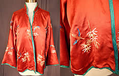 Vintage Chinese Cinnabar Red Silk Embroidered Bamboo Bird Robe Jacket