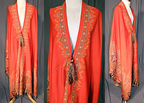 Victorian Antique Jacquard Red Wool Paisley Shawl Cloak Cape Tassel Trim