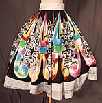 1950s Vintage Hand Painted Mexican Mayan Aztec Warrior Print Cotton Circle Skirt